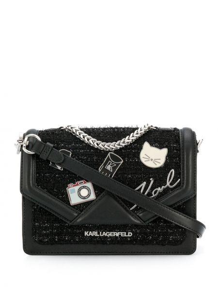 Сумка на плечо твидовая с клапаном Karl Lagerfeld