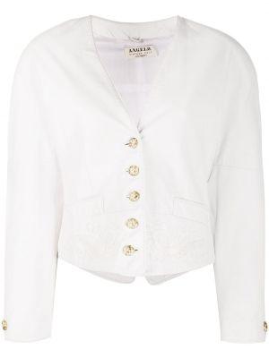 Белый кожаный удлиненный пиджак на пуговицах A.n.g.e.l.o. Vintage Cult