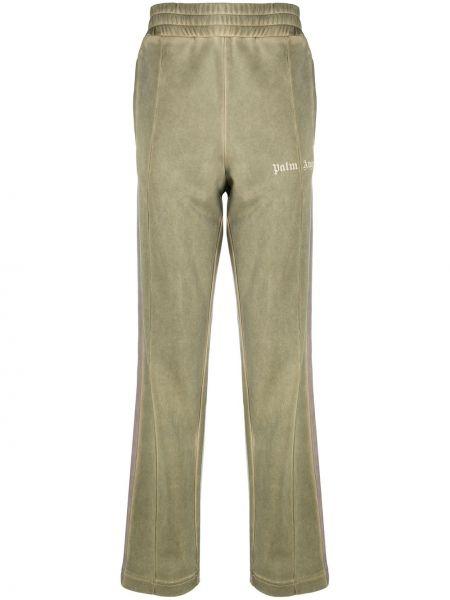 Prosto zielony spodnie o prostym kroju z kieszeniami Palm Angels