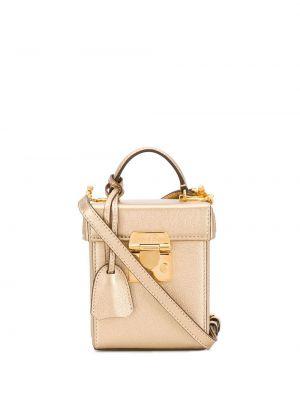 Кожаная золотистая желтая сумка на цепочке с карманами Mark Cross