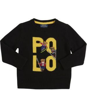 Czarny sweter wełniany z haftem Ralph Lauren