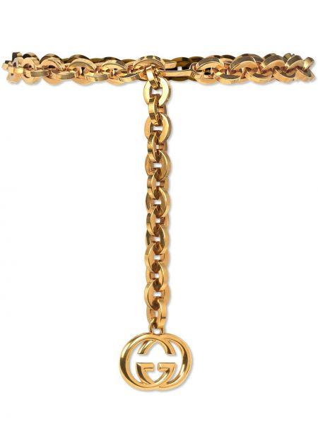 Pasek z paskiem złoto metal Gucci