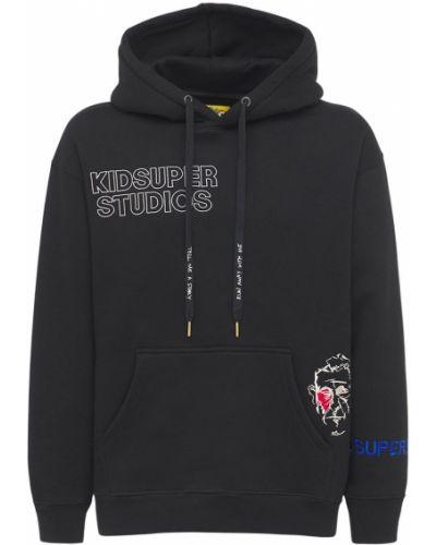 Czarna bluza kangurka bawełniana z haftem Kidsuper Studios