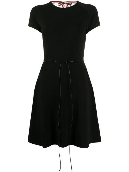 Кожаное черное платье мини с вырезом Bally