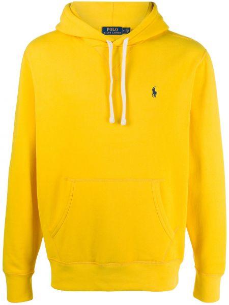 Żółty koszulka polo z haftem z długimi rękawami z kieszeniami Polo Ralph Lauren