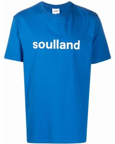 Niebieska T-shirt z nadrukiem bawełniana Soulland