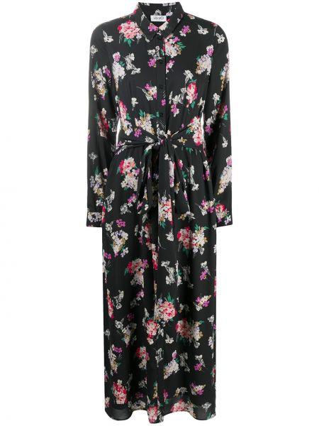 С рукавами черное платье миди в цветочный принт Liu Jo