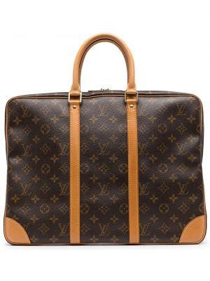 Коричневая кожаная дорожная сумка винтажная Louis Vuitton