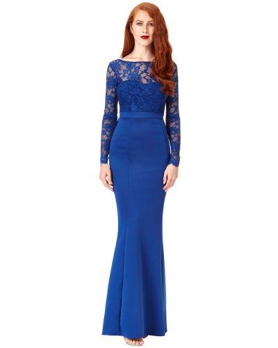 Облегающее синее кружевное вечернее платье Goddiva