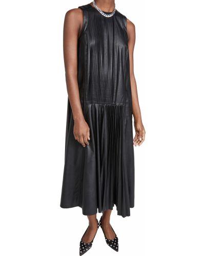 Кожаное черное платье без рукавов Tibi