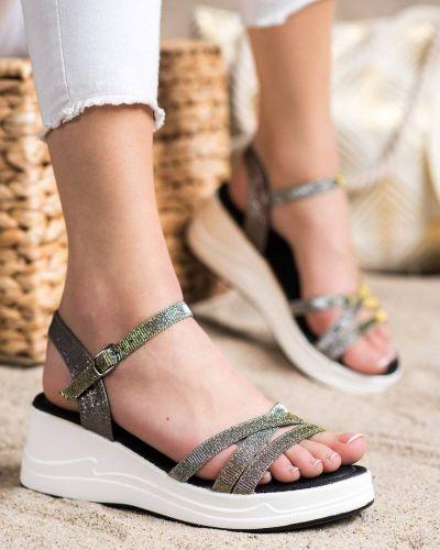 Klasyczne brokatowe złote sandały na koturnie Small Swan