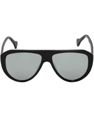Czarne okulary srebrne Saturnino Eyewear