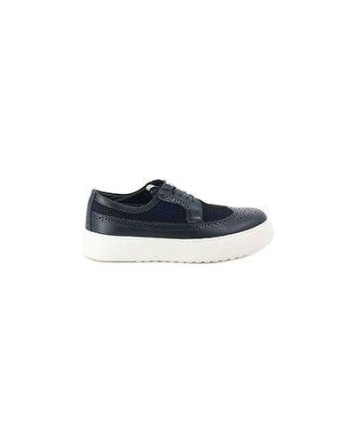 Синие кожаные ботинки спортивные Armani Jeans