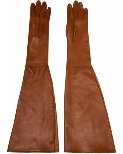 Бежевые кожаные перчатки длинные со вставками Chapurin