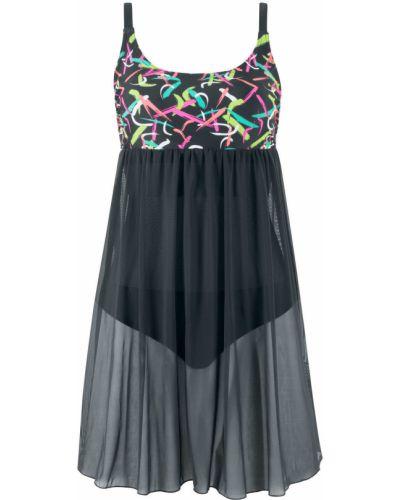 Розовое купальное платье сетчатое с чашками Bonprix