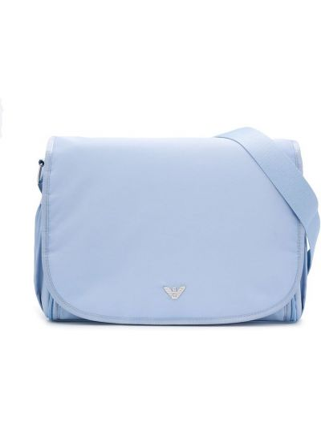 Нейлоновая синяя с ремешком сумка с черепами Emporio Armani Kids