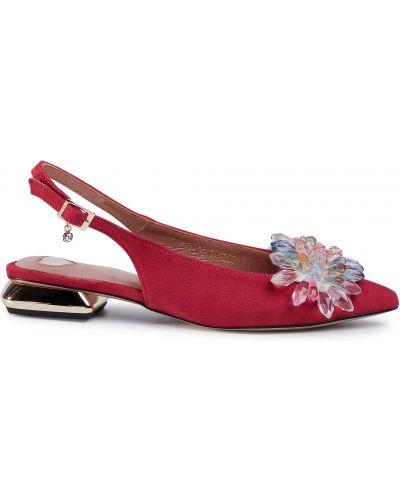 Босоножки на каблуке - красные R.polański