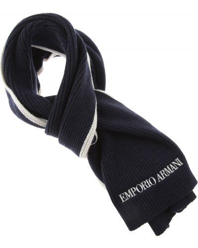 Prążkowany niebieski z kaszmiru szalik Emporio Armani