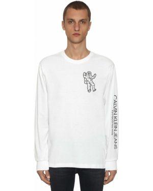 Biały t-shirt z długimi rękawami bawełniany Calvin Klein Established 1978