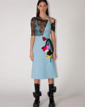 Платье миди на бретелях с цветочным принтом Prada