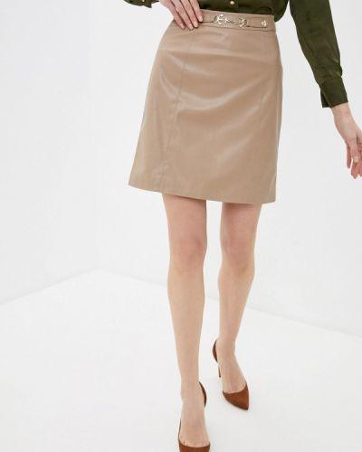 Бежевая кожаная юбка Lusio