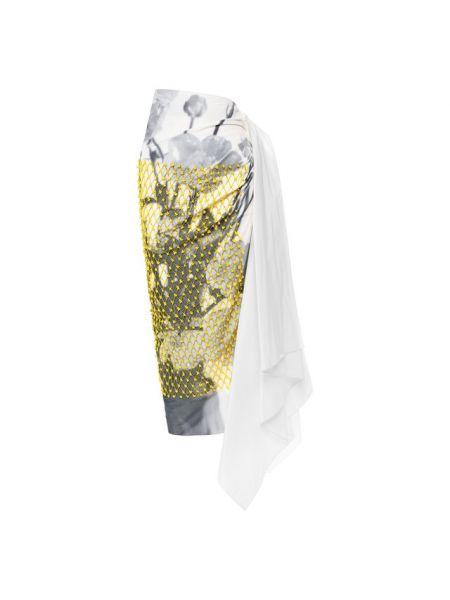 Серая юбка с оборками каскадная из вискозы Dries Van Noten