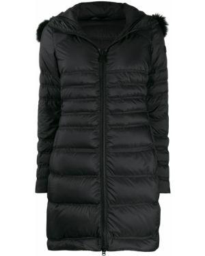 Черная длинное пальто из лисы Peuterey