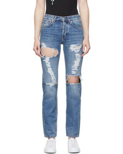 Skórzany niebieski jeansy z paskiem z łatami Givenchy