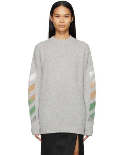 Белый шерстяной длинный свитер в полоску Off-white
