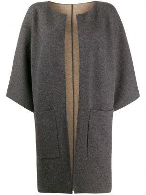 Серое кашемировое пальто свободного кроя Liska