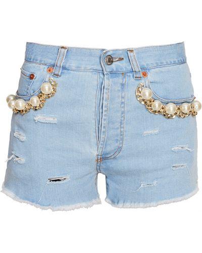 Джинсовые шорты короткие - голубые Forte Couture
