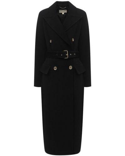 Czarny płaszcz dwurzędowy wełniany z paskiem Michael Kors