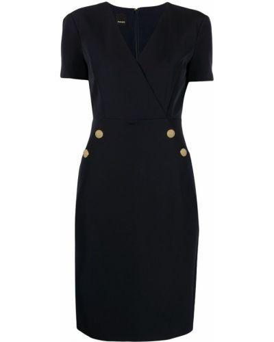 Приталенное синее платье с V-образным вырезом Pinko