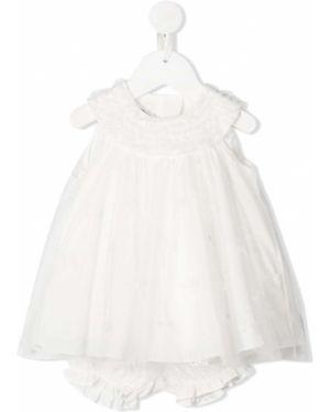 Biała sukienka tiulowa bez rękawów Baby Dior