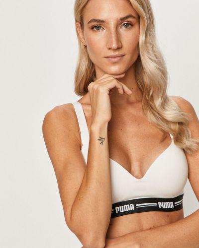 Biały biustonosz sportowy bawełniany z printem Puma