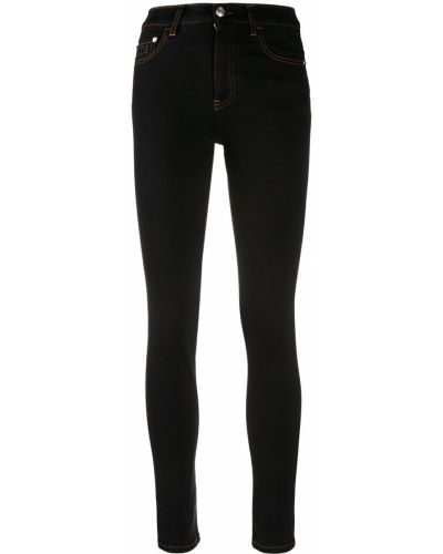 Хлопковые зауженные черные джинсы с высокой посадкой стрейч Gcds