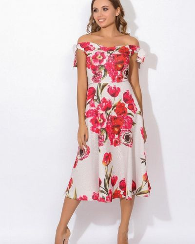 Платье розовое с открытыми плечами Tutto Bene