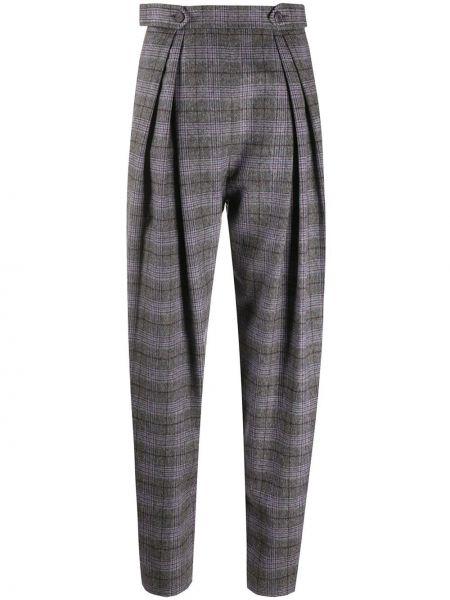 Шерстяные серые плиссированные брюки с высокой посадкой Alberta Ferretti