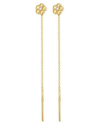 Золотые серьги с фианитом эстет