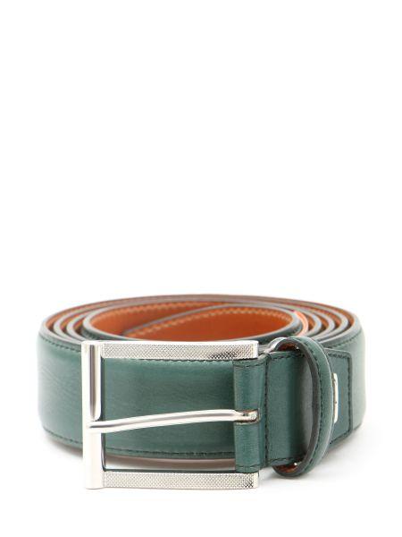 Зеленый кожаный ремень с пряжкой Santoni