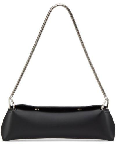 Замшевая с ремешком черная сумка на цепочке с тиснением Venczel