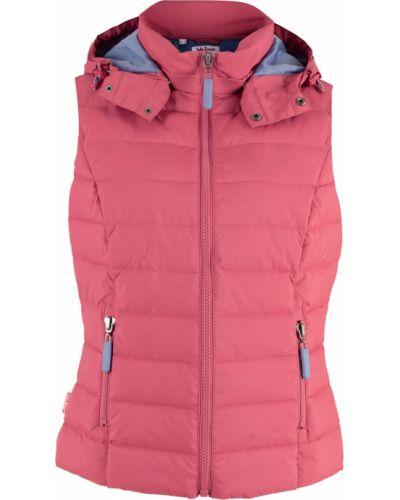 Розовая стеганая жилетка с капюшоном квадратная Bonprix