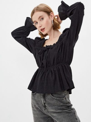 Черная блузка с длинными рукавами Bruebeck