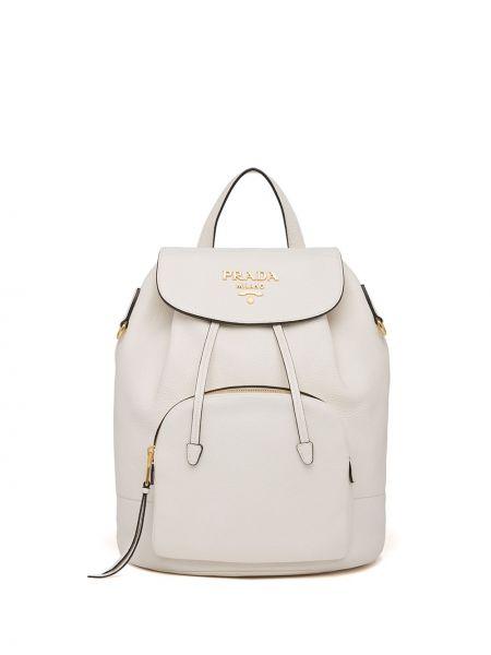 Biały plecak skórzany Prada