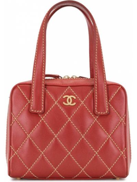 Красная стеганая сумка-тоут металлическая на молнии Chanel Pre-owned