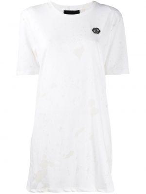 Свободное белое платье мини свободного кроя Philipp Plein