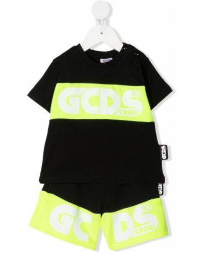 Czarny dres bawełniany krótki rękaw Gcds Kids