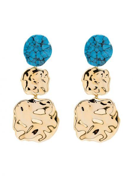 Niebieskie złote kolczyki sztyfty pozłacane Joanna Laura Constantine