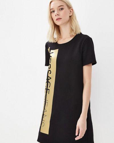Черное платье футболка Versace Jeans