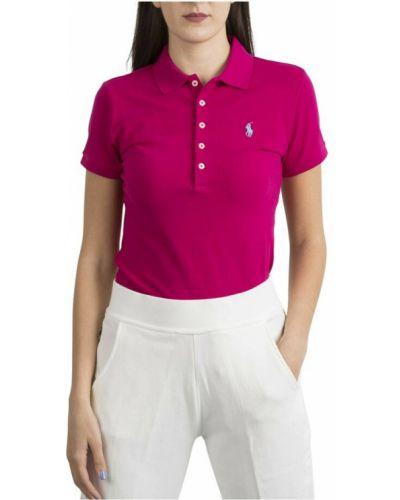 Różowa t-shirt z haftem Ralph Lauren